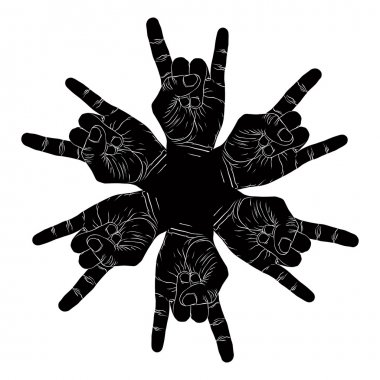 Six rock hands abstract symbol, black and white vector special e