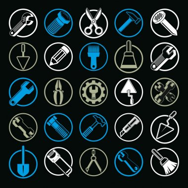 Stylized industrial icons