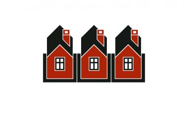 Simple cottages illustration, country houses, for use in graphic