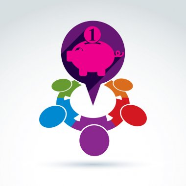 Financial piggy bank  icon