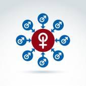 Fotografie männliche und rote weibliche Zeichen