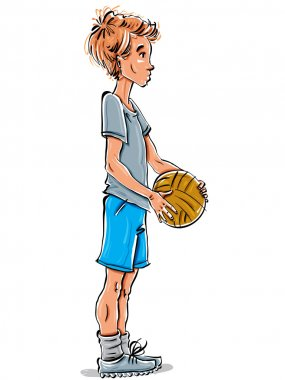 Caucasian red-haired teenager with  ball