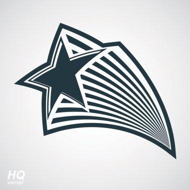Pentagonal comet star illustration
