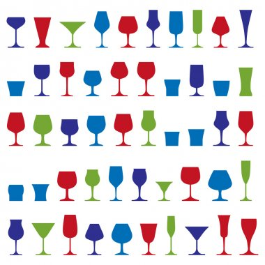 Decorative drinking glasses collection.