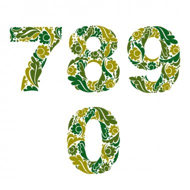 Numbers with eco floral ornament
