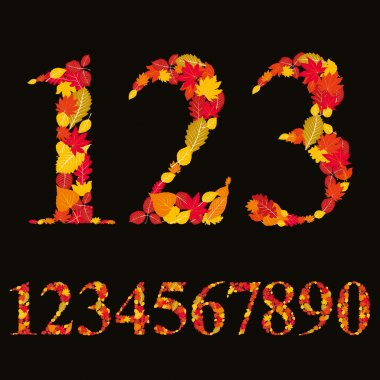 Numbers made with leaves