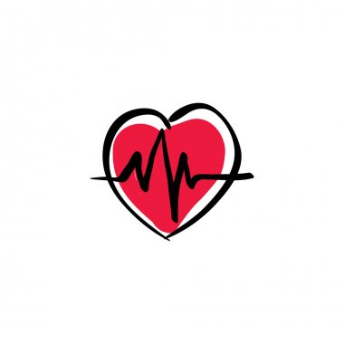 Illustrated heart with ekg
