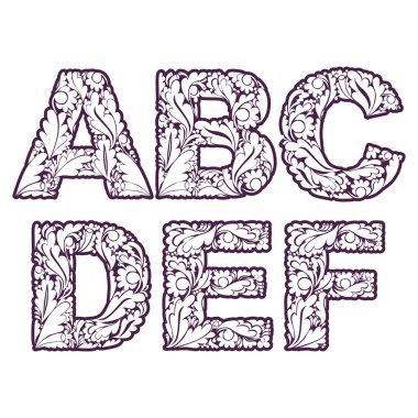 Letters A, B, C, D, E, F