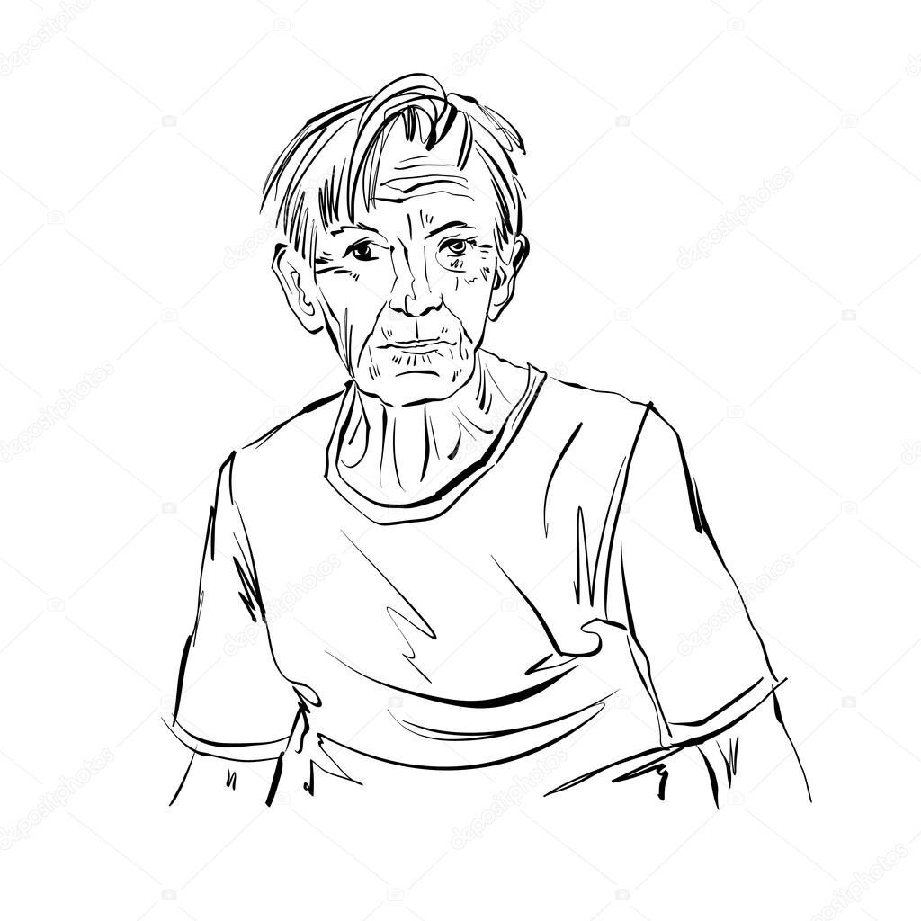 Yaşlı Adam Elle çizilmiş çizimi Stok Vektör Ostapius 68229199
