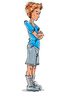 Standing melancholy teenage boy drawing