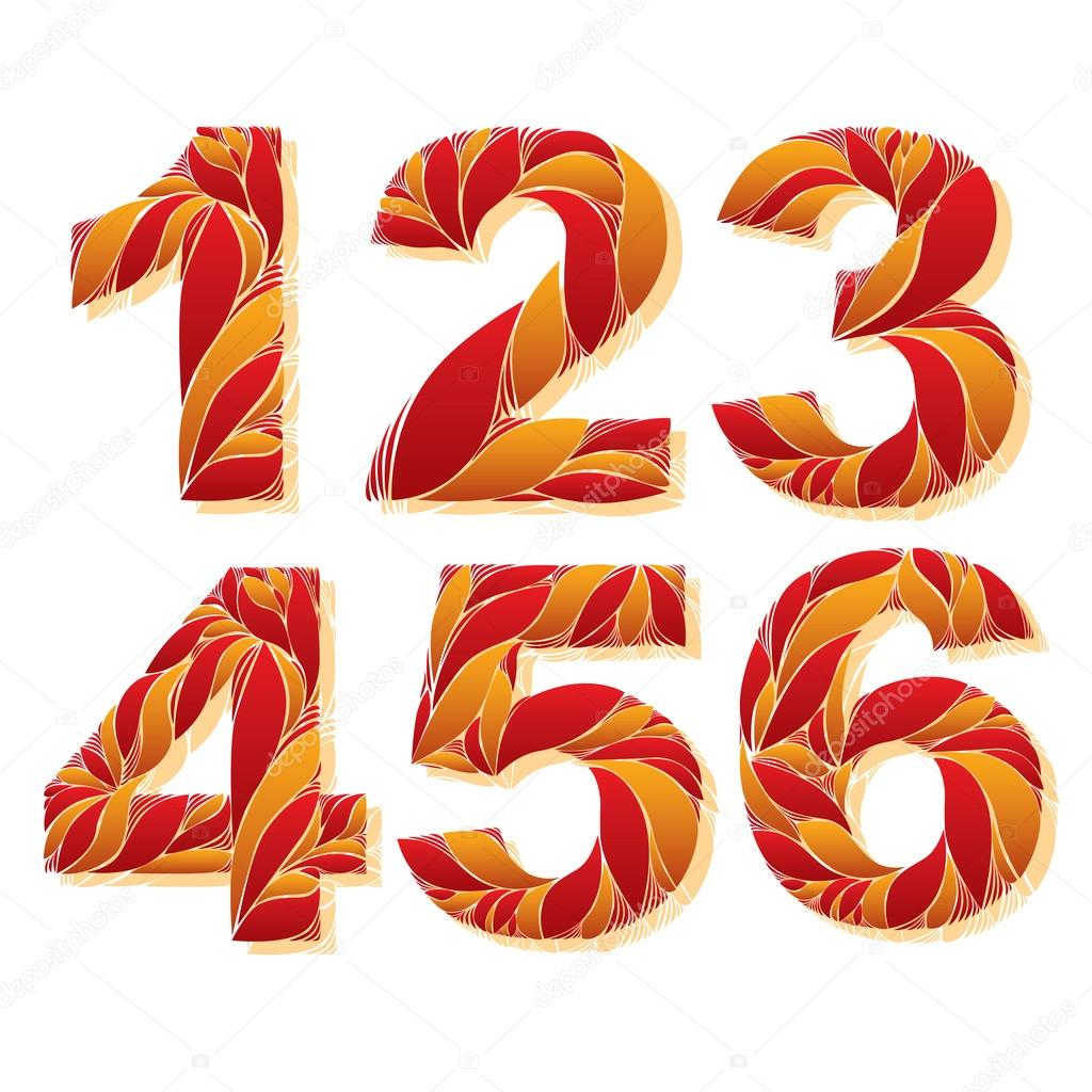 Stylish flower-patterned numbers