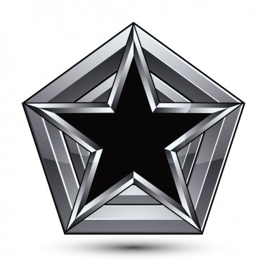 Silvery blazon with pentagonal black star