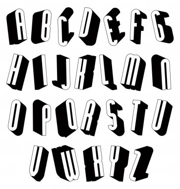 Black and white 3d font