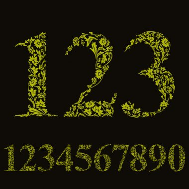 Green floral numbers