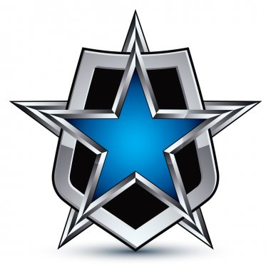 Emblem with silver outline and star