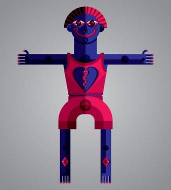 Geometric cartoon character