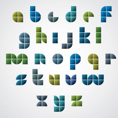 Colorful glossy geometric comic font