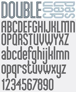 retro style geometric font.