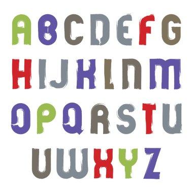 alphabet cartoon capital letters set