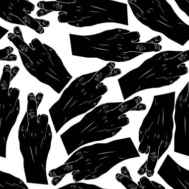 Hands of cheaters with crossed fingers seamless pattern, black and white vector background for wallpapers, textile or other designs. clip art vector