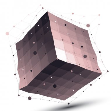 3D geometric object with wireframe