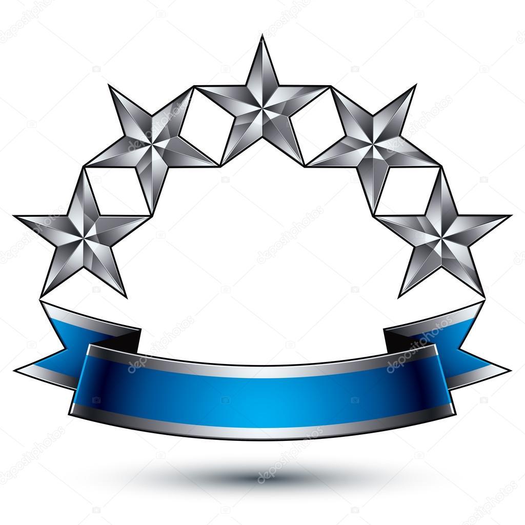 Heraldische Vorlage mit fünfzackigen silbernen Sternen — Stockvektor ...