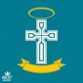 Religiöse Kreuz Emblem mit nimbus