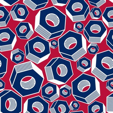 Seamless pattern with 3d industrial nuts