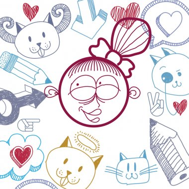 happy smiling cartoon girl