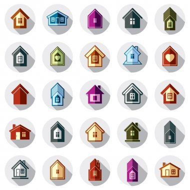 Colorful different houses icons