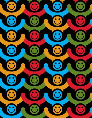 Seamless background with colorful smiley faces