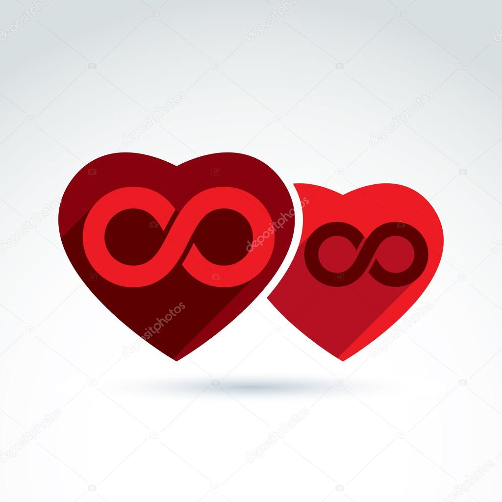 Eternity symbol placed on a red heart stock vector ostapius illustration of an eternity symbol placed on a red heart love forever concept two valentine hearts connected marriage idea vector by ostapius biocorpaavc Images