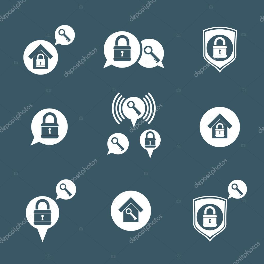 House Security Protection Icons Set Stock Vector Ostapius 86919290