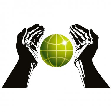 Hands and earth symbol