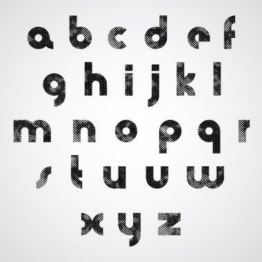 Black dotty lower case letters