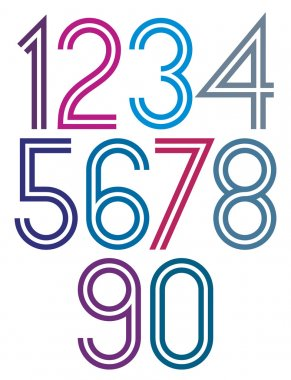 Poster rounded big colorful numbers