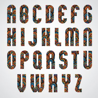 Colorful abstract upper case letters.