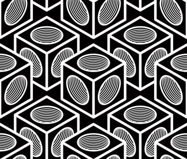 Monochrome abstract geometric seamless pattern