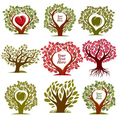 trees with red heart