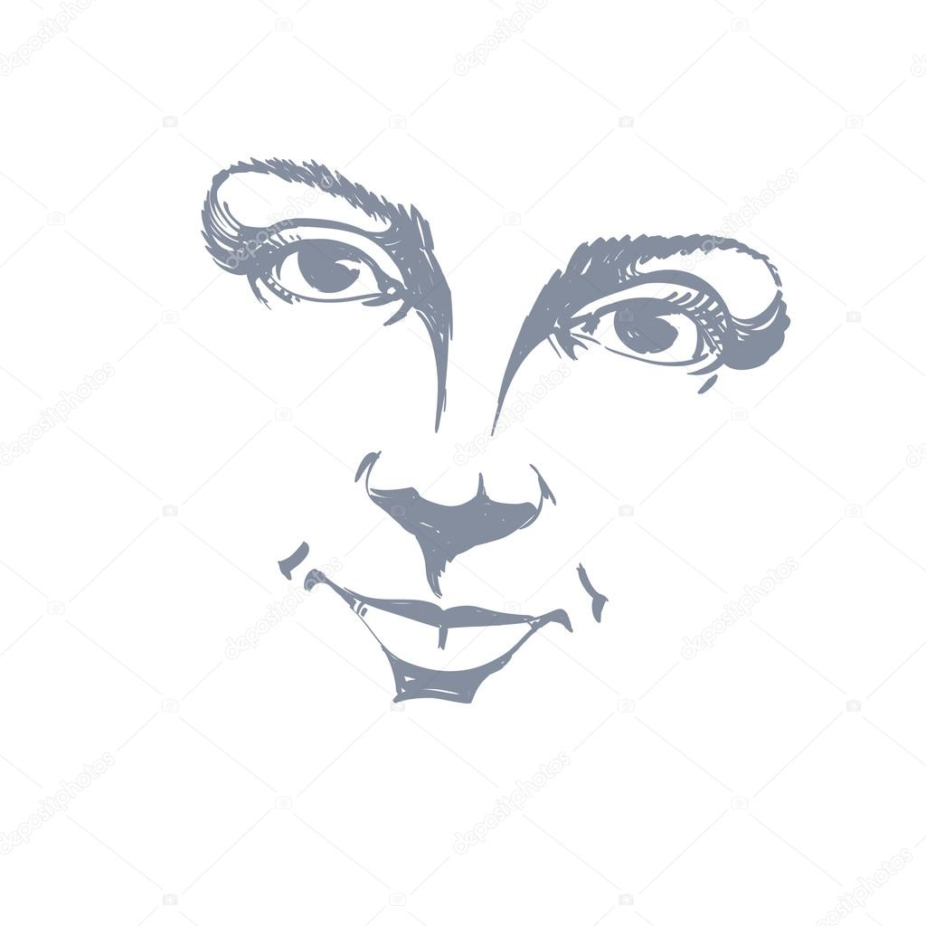 Illustration Visage hand-drawn face of a girl — stock vector © ostapius #95500408
