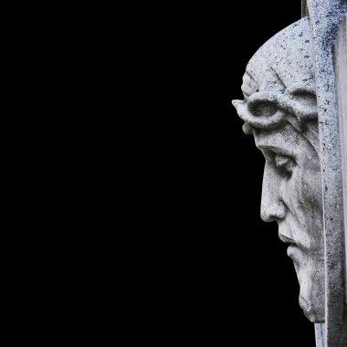 Jesus Christ statue against white background stock vector