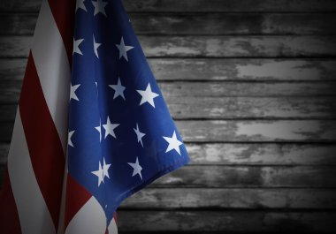 American flag and wall