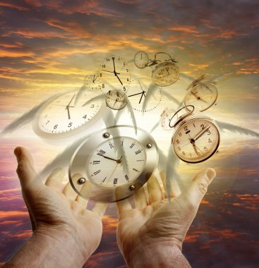 Hands and clocks in sky stock vector