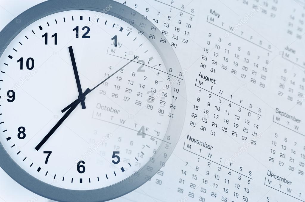 много календарь и часики в одной картинке также