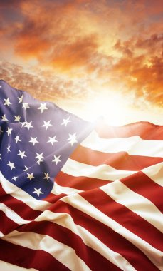 American flag and bright sky stock vector