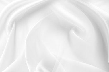 Closeup of rippled white silk fabric stock vector