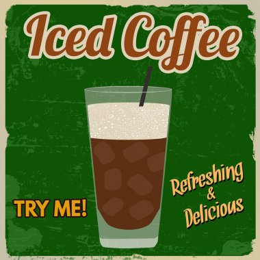 Iced coffee retro poster
