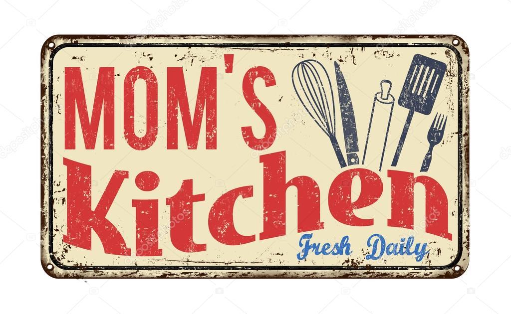 Cocina De Mamá En Vintage Metal Oxidado Firmar Sobre Un Fondo Blanco,  Ilustración Vectorial   Logo Cocina Mamá U2014 Vector De ...