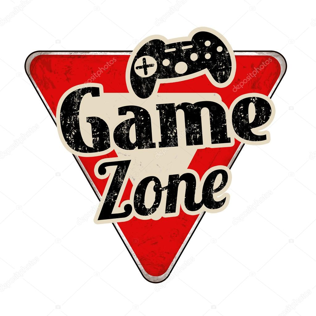 game zone vintage road metal sign � stock vector