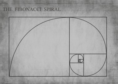 The Fibonacci spiral on retro style